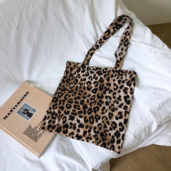 韩国秋冬chic 环保布包复古时髦韩风豹纹印花单肩帆布包袋购物袋