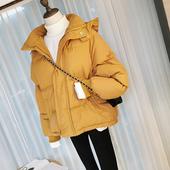 冬季女装韩版小可爱连帽棉衣女短款ins纯色面包服学生棉袄外套潮