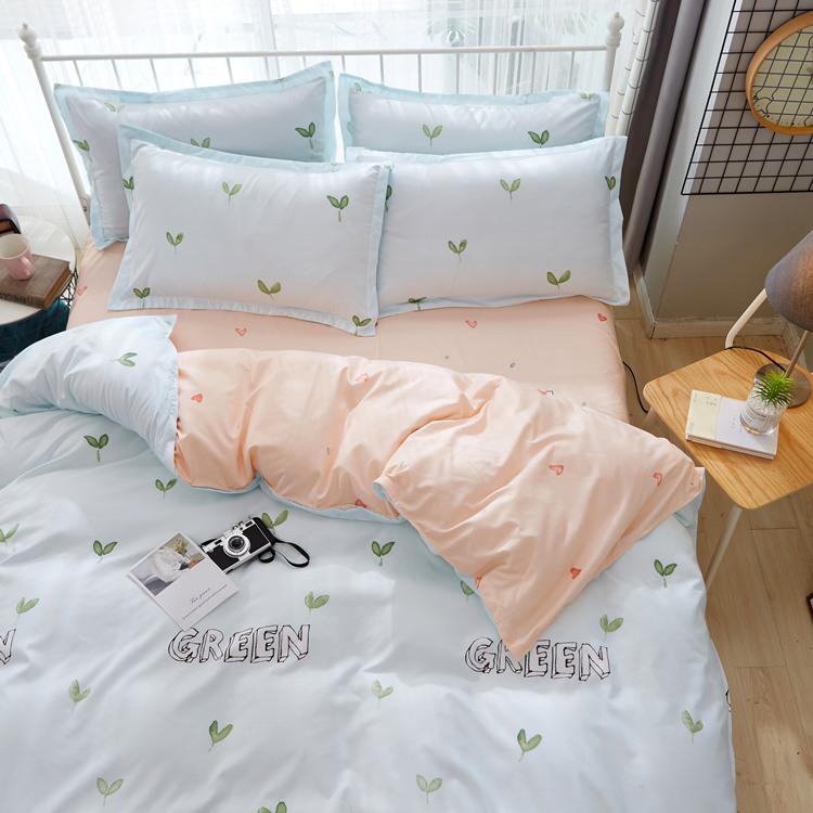 田园风小清新绿芽1.5m床单被套四件套1米二床上三件套1.2/1.8家用