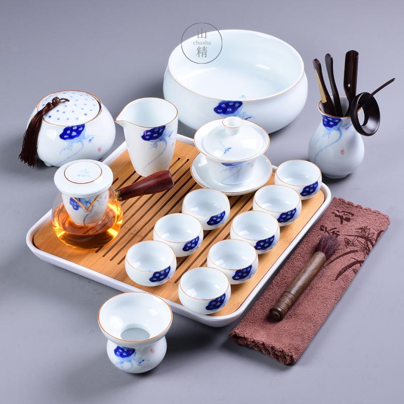 满98元可用5元优惠券景德镇茶具套装侧把茶壶盖碗家用办公简约功夫茶具现代干泡小套组