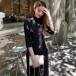 黑色雪纺旗袍2020年新款蝴蝶刺绣中长款年轻款少女中国风连衣裙女