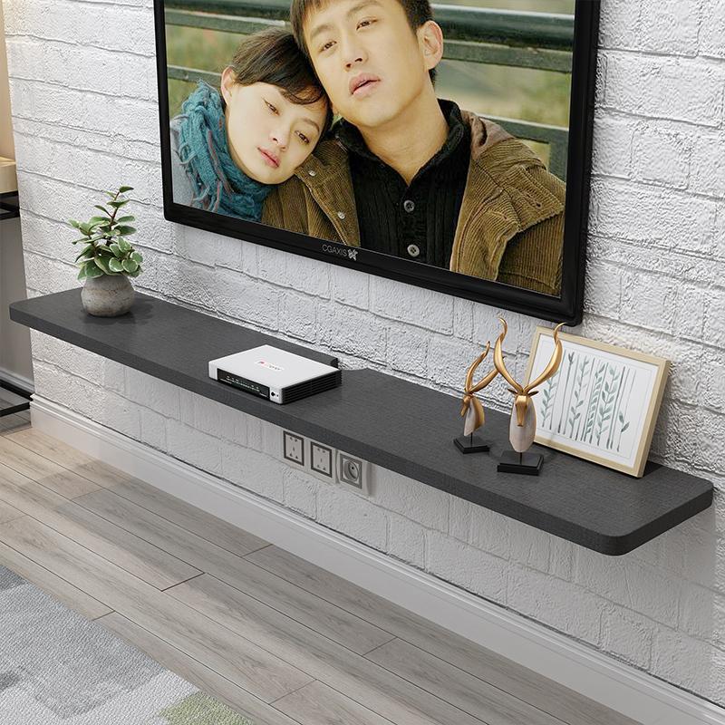 实木多层一字隔板电视柜背景墙电视机顶盒搁板置物架简约现代定制