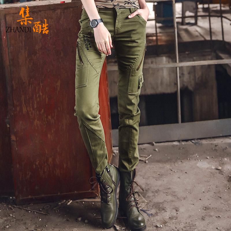迷彩裤子春秋女士工装裤小脚显瘦韩版帅气宽松薄款休闲女式军裤潮(非品牌)