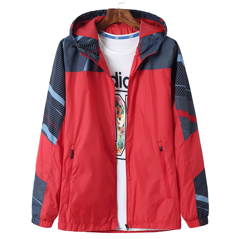 Big size spring thin coat mens color matching Hooded Jacket fattened to increase the trend of young boys loose sports windbreaker