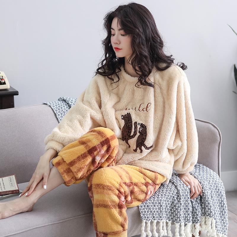 轩鹿珊瑚绒睡衣女冬季加绒加厚保暖韩版法兰绒秋冬款可外穿家居服