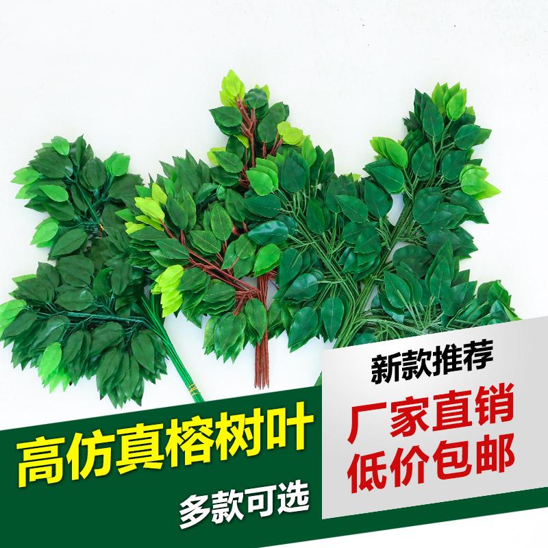 仿真榕树叶红枫叶工程装饰假榕树枝过胶绿植树叶塑料银杏叶子植物