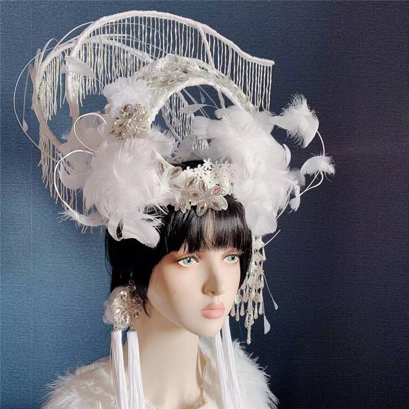 国风中国潮戏曲白色羽毛夸张头饰创意走秀影楼拍摄影头饰京剧帽子