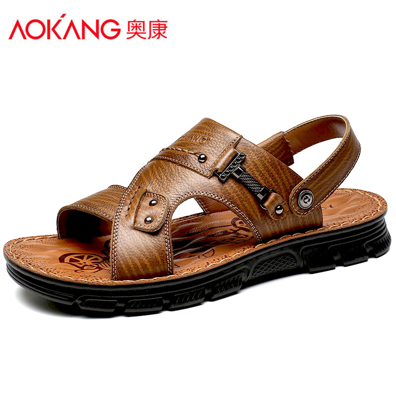 Aokang sandals men's sandals slippers dual purpose 2020 new summer middle-aged and elderly leather dad leisure beach shoes