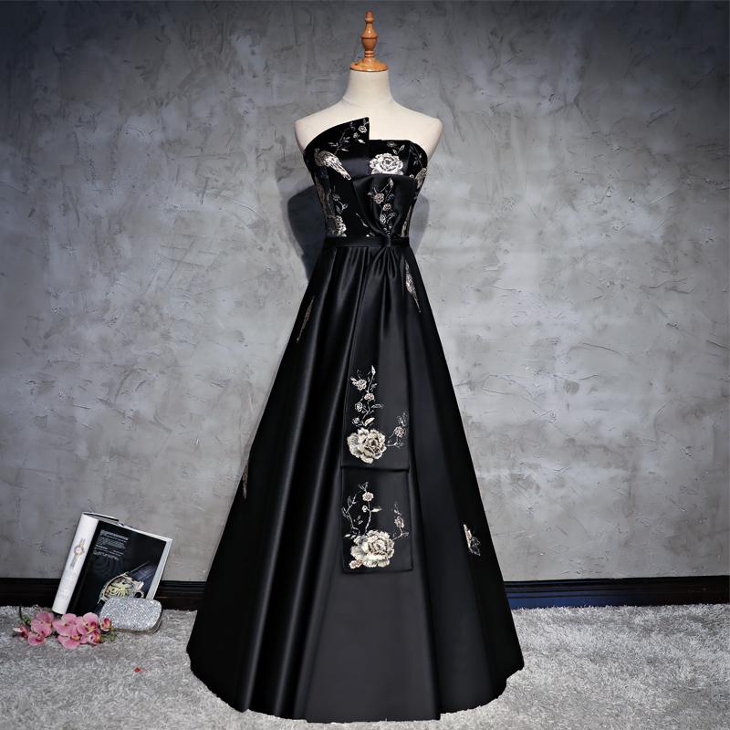 晚礼服长款2018新款秋季黑色宴会高贵优雅显瘦晚装主持人礼服裙女