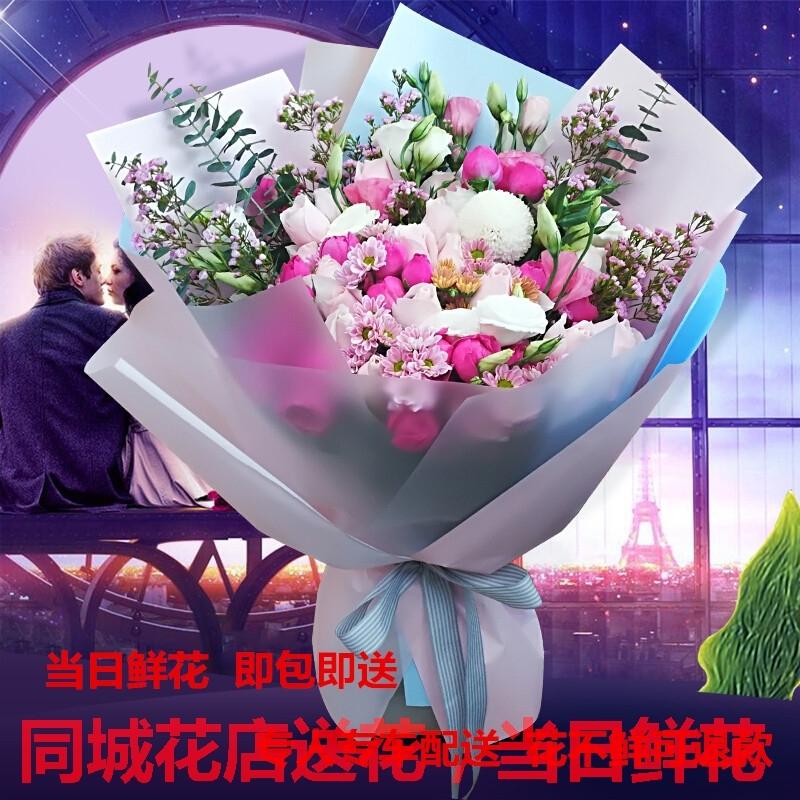 宁波市象山县宁海县同城鲜花店求婚生日送女友韩式玫瑰绣球花束
