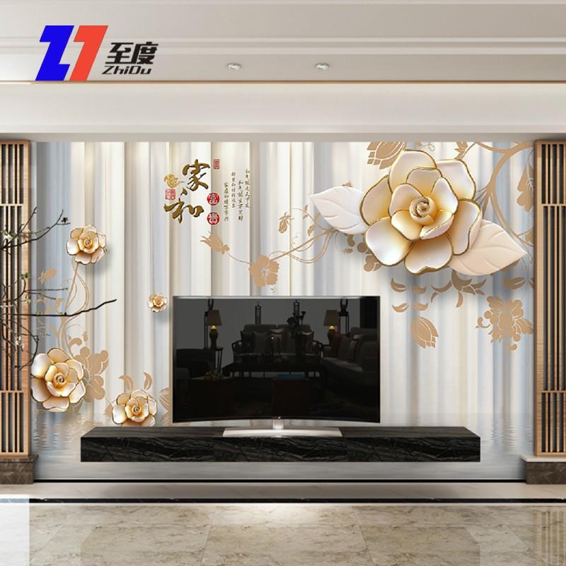 现代简约电视背景墙壁纸客厅立体壁画8d影视墙布装饰墙纸壁画家和