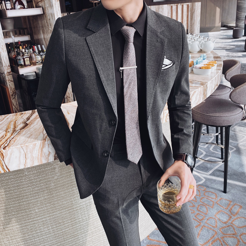 Spring and summer new British style Korean slim casual pants long sleeve Lapel mens casual one row suit