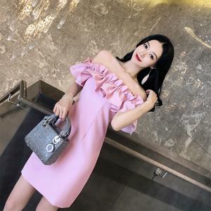 泰国潮牌2020新款度假抹胸一字领漏背派对小礼服名媛性感连衣裙女