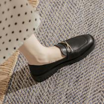 乐福鞋女平底英伦风黑色小皮鞋夏季薄款软皮单鞋软底职业工作舒适