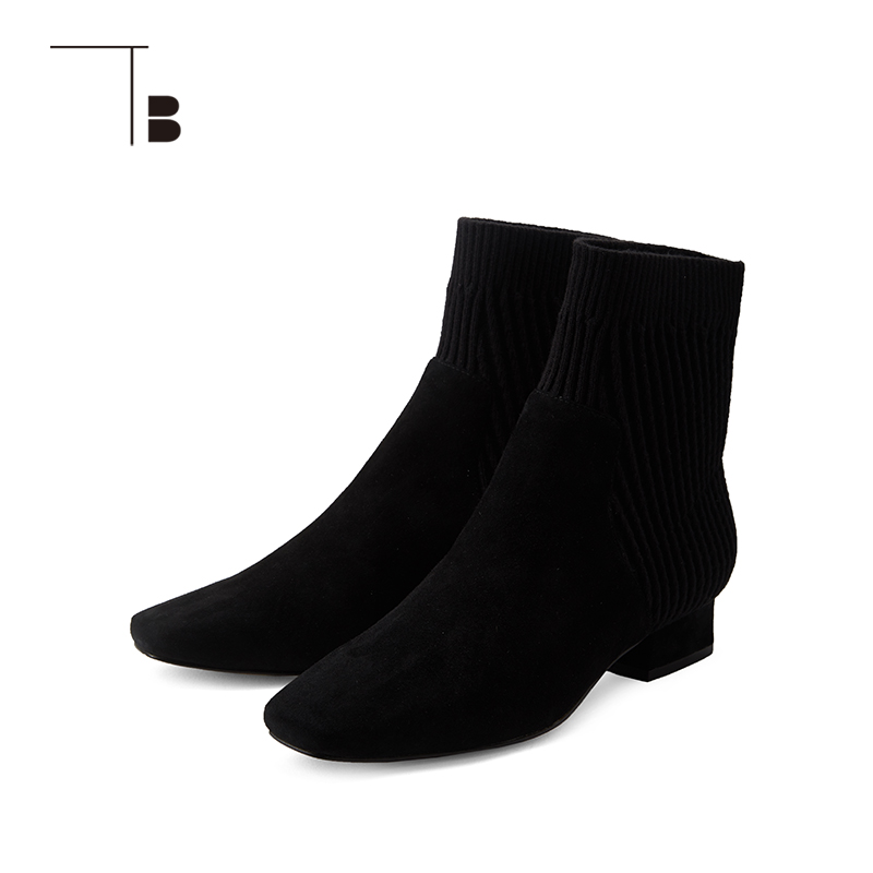 TB / tuobei 18 autumn winter suede knit stitched pointed low heel boots q0284062a