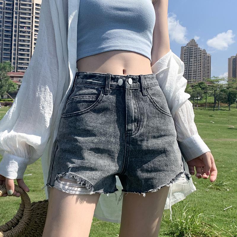 烟灰色牛仔短裤女夏季薄款2020年新款超高腰显瘦宽松阔腿a字热裤