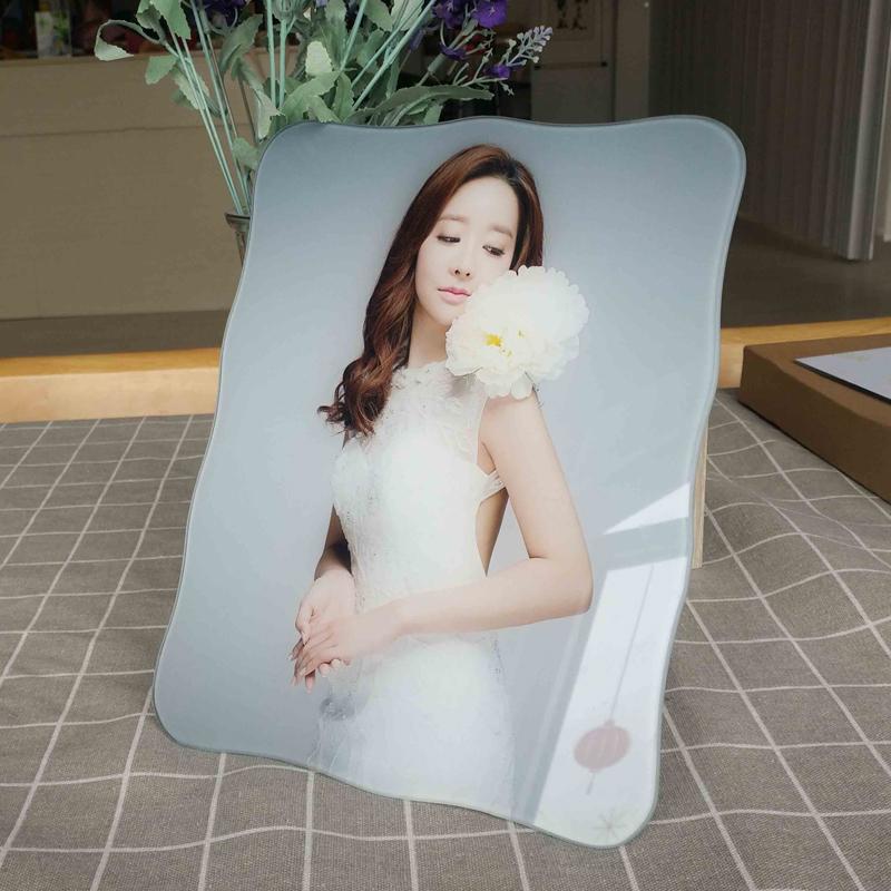 10寸冰雕曲边水晶照片摆台  宝宝相框制作  韩版婚纱照相架定制