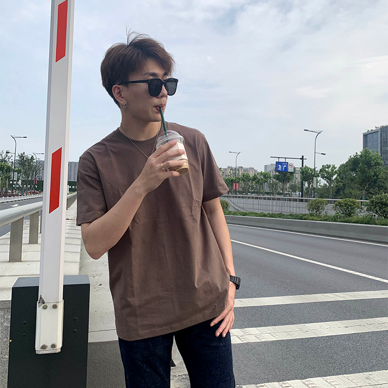 Original magic 270g round neck mens solid Japanese casual pure cotton summer trend basic short sleeve T-shirt