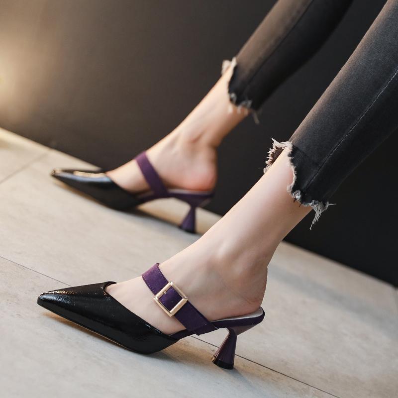 高跟鞋低跟女3cm中跟一字扣细跟超烫2020夏新款仙女风少女小清新