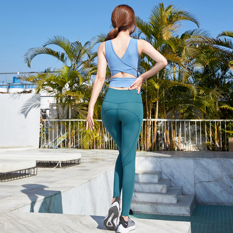 Yingsu sports xianger same Yoga suit womens cross back sleeveless vest high waist hip lifting fitness pants two piece set