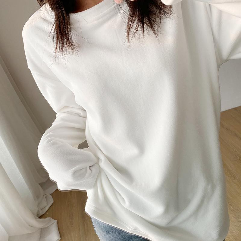 中长款长袖白色t恤女金丝绒加绒加厚打底衫宽松2020秋冬内搭上衣