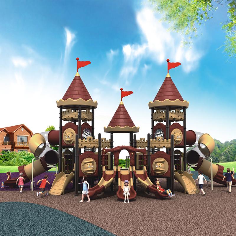 Outdoor apartment large amusement equipment kindergarten Castle slide community engineering plastic toy outdoor slide