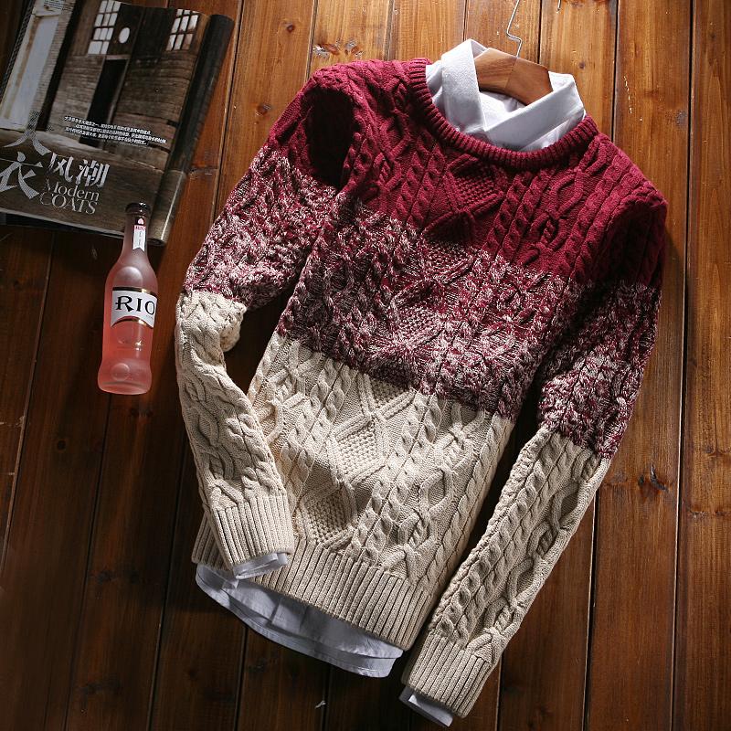 路都秋冬新款渐变男款毛衣针织衫