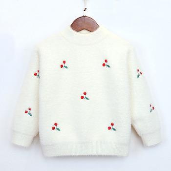 女童仿水貂绒毛衣韩版宝宝中小童加厚保暖小孩儿童打底衫针织衫