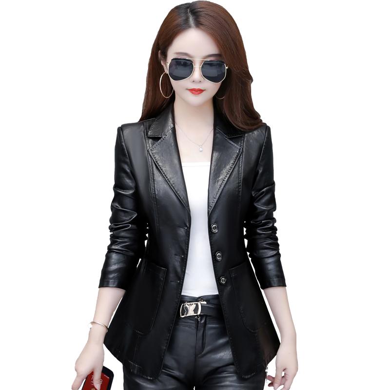 秋冬新款海宁女皮衣短款韩版修身显瘦西装领小皮夹克大码女装外套