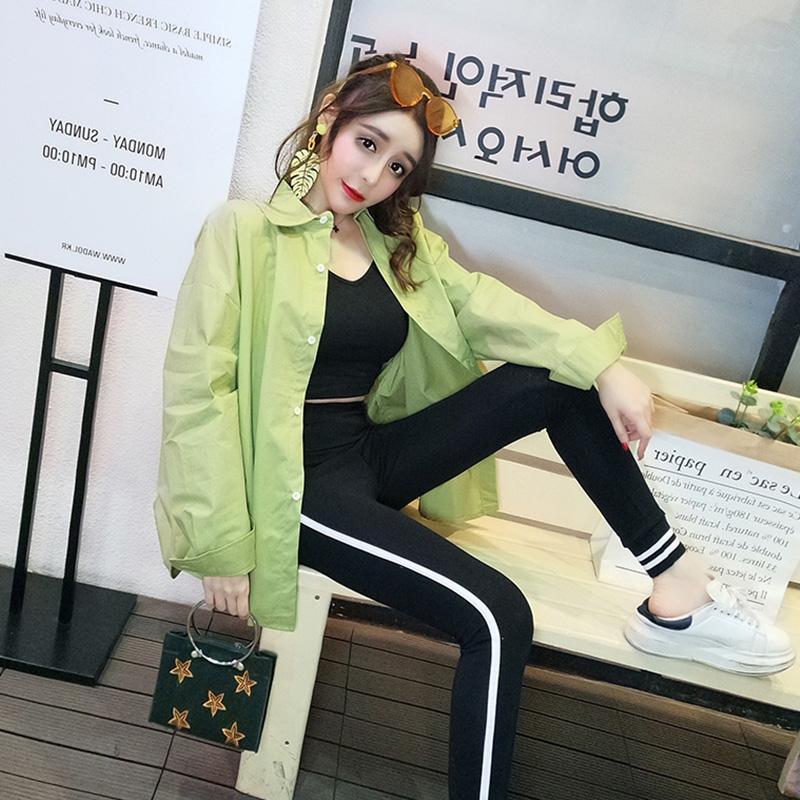 售价不低于18 实价实拍新款两件套中长款纯色衬衣+运动吊带背心