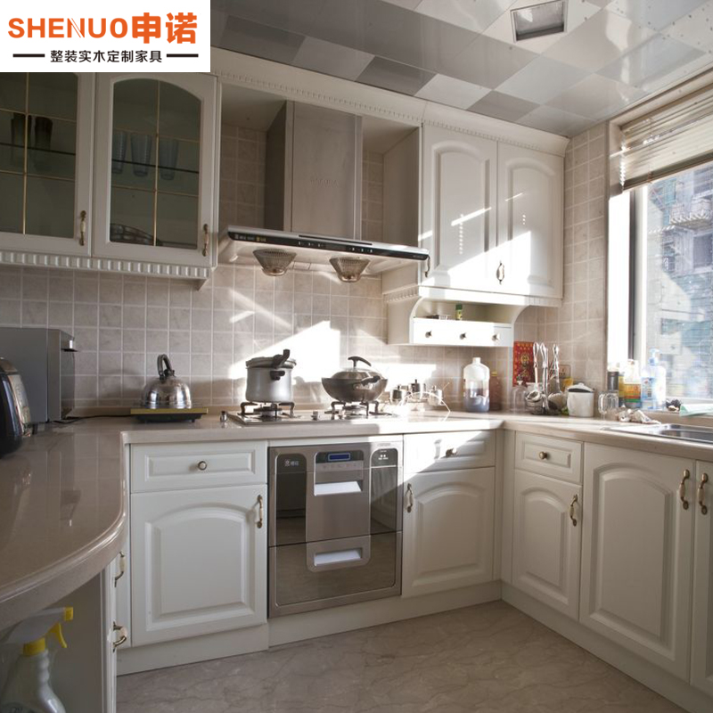 Mianyang whole cabinet customized modern simple white plastic L-shaped kitchen cabinet design customized factory direct marketing