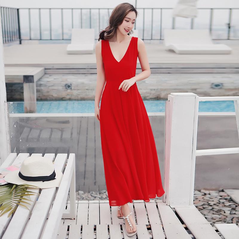 2019夏季新款无袖红色雪纺连衣裙波西米亚长裙泰国海边度假沙滩裙(非品牌)