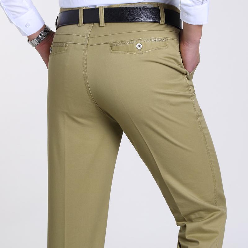 春夏薄款中年男士休闲裤时尚中老年男裤子高腰宽松爸爸装直筒长裤