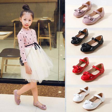 女童黑皮鞋公主鞋小女孩鞋子单鞋夏季白色儿童女演出黑色童鞋夏白