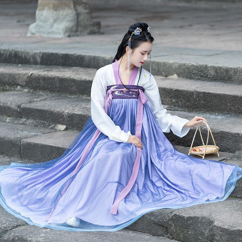 纪卡图改良汉服女夏超仙渐变色齐胸襦裙六米摆日常飘逸古装中国风