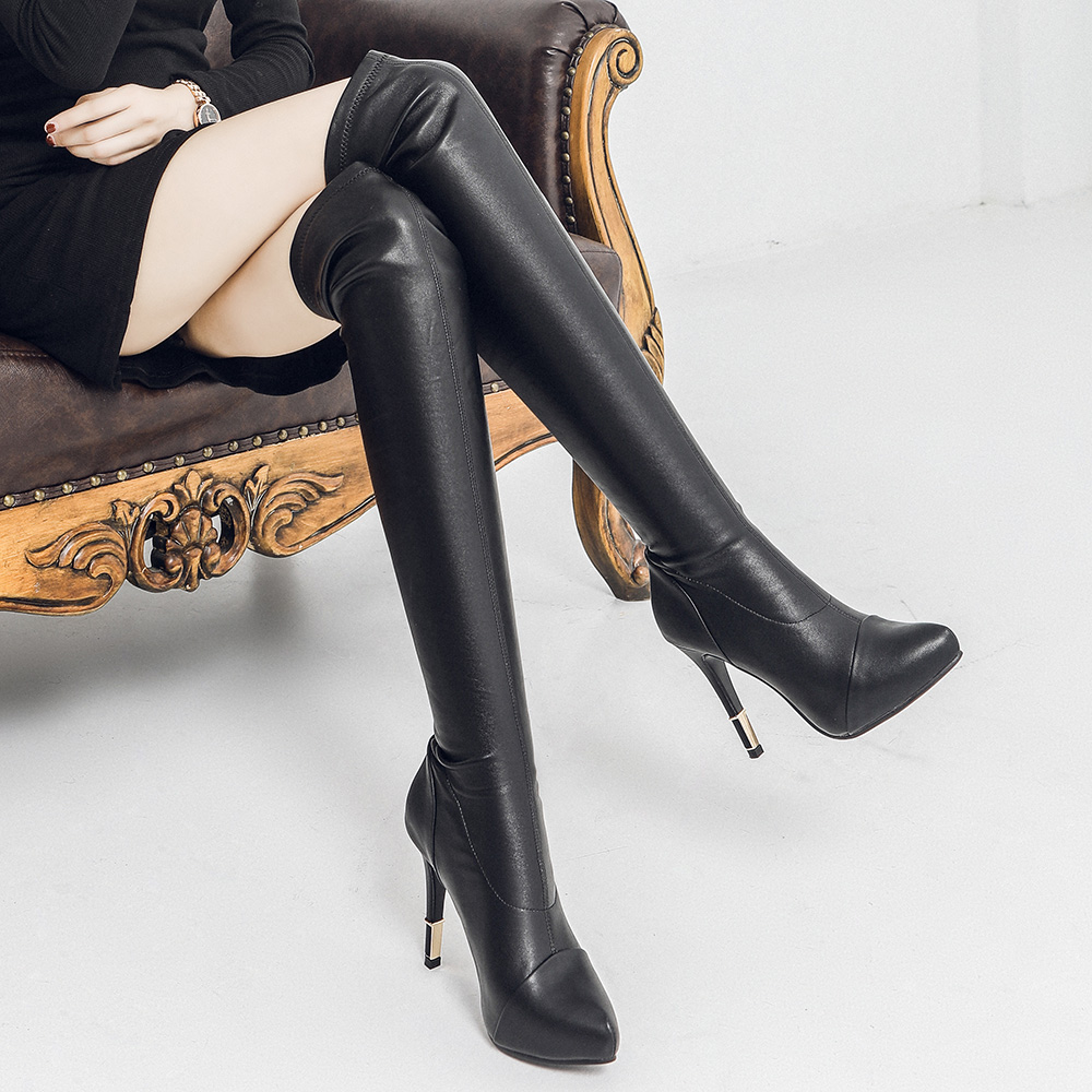 New womens boots in autumn and winter 2019, pointed boots, plush thin heels, thin legs, elastic knee boots, leather boots