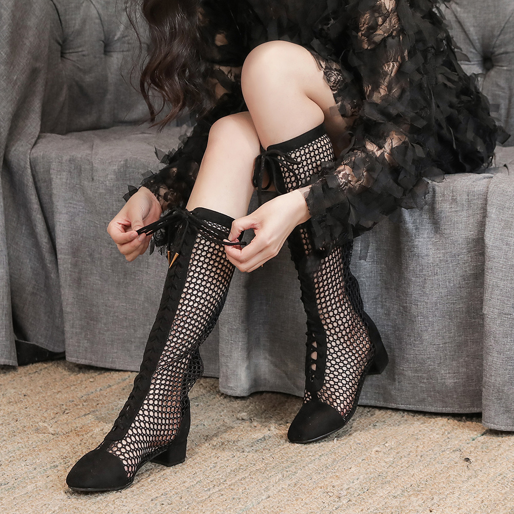Net red thick heel high tube Roman cool boots womens long tube mesh sandals middle high heel sexy boots summer autumn hollow net boots