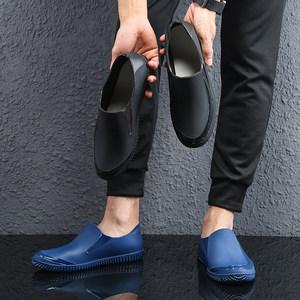 时尚低帮雨鞋男式短筒水鞋潮流平底防水雨靴工作防滑胶鞋轻便水靴