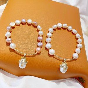 日韩气质优雅天然淡水珍珠串珠手链女 小众设计干招财猫弹力手镯