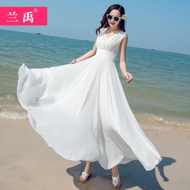 2020白色雪纺连衣裙女夏新款显瘦气质三亚大摆长裙海边度假沙滩裙
