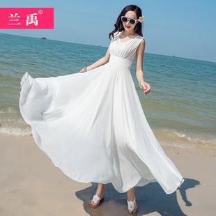 显瘦气质三亚大摆长裙海边度假沙滩裙 2020白色雪纺连衣裙女夏新款