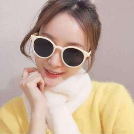 圆框ins网红偏光太阳眼镜女 香奶白色复古墨镜韩版遮阳镜厂家直销图片