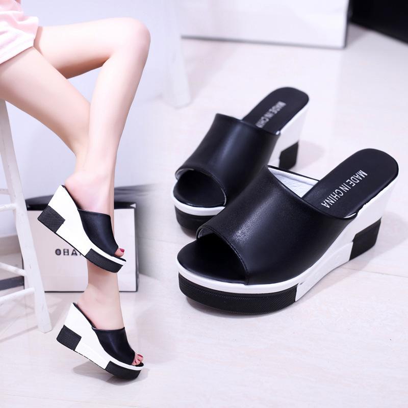 99新款春夏拖鞋女坡跟拖鞋高跟厚底女士增高一字凉拖鞋鱼嘴鞋韩版