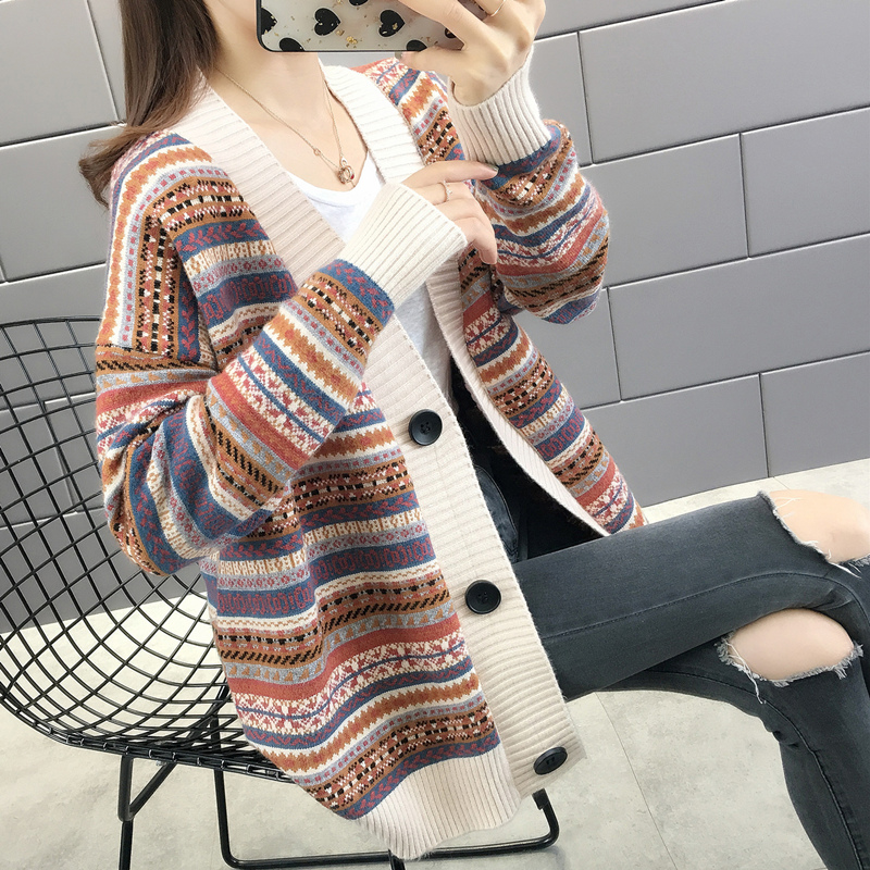 National style knitted cardigan womens new mid long coat in autumn and winter casual stripe sweater loose top