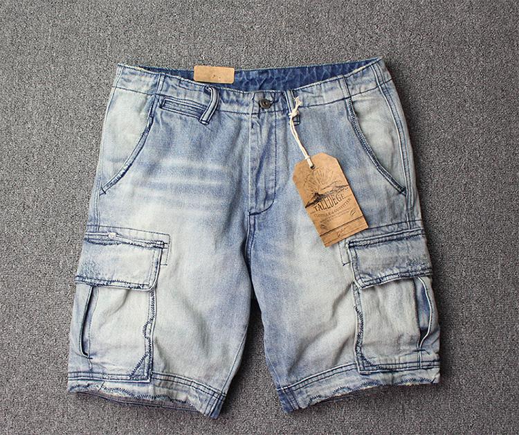 夏季新款欧美复古工业工装裤牛仔男短裤浅色做旧韩版多袋五分裤潮