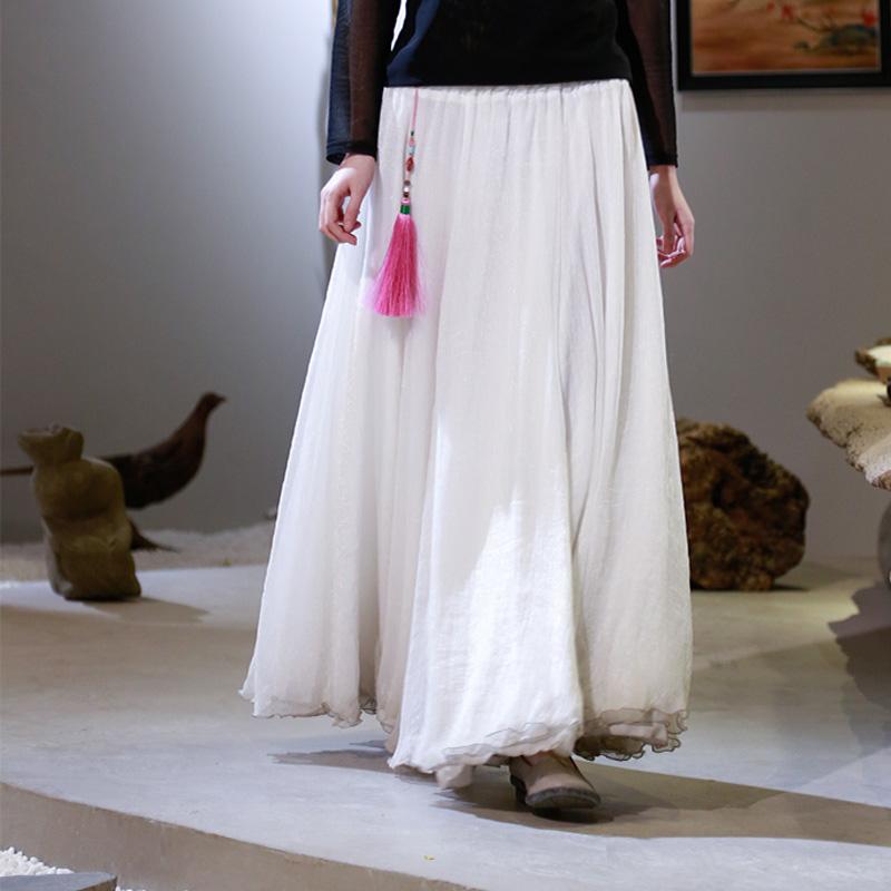 佛笑缘同款原创设计古风百搭三层白色雪纺裙子半身裙夏季新款女装