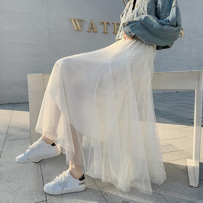 2019年半身裙女秋冬仙女超仙森系白色裙子学生百搭秋季网纱中长裙满118.00元可用59元优惠券