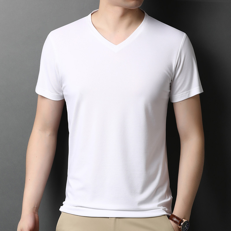 Sivani mens silk Casual Short Sleeve T-Shirt summer new short sleeve t-shirt mens V-neck T-shirt youth thin