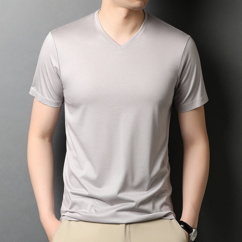 Sisfanisan silk short sleeve t-shirt mens summer ice silk ice feeling V-neck solid color trend half sleeve shirt