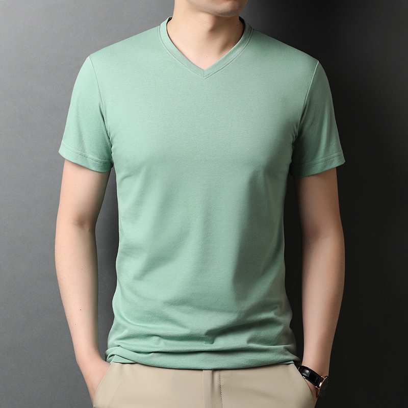 Summer mens half sleeve solid color V-neck t-shirt mens summer thin ice silk high end T-shirt